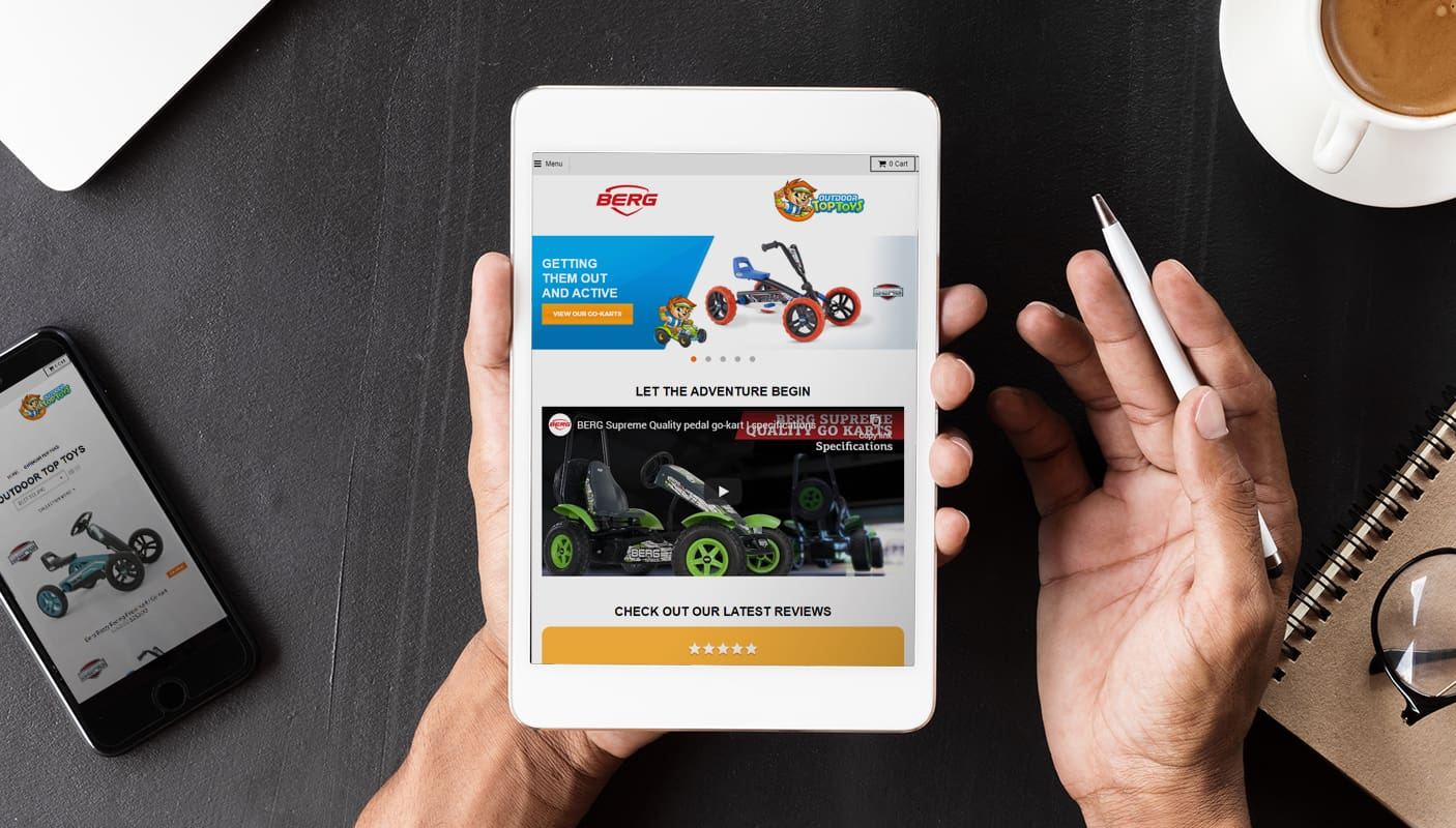 Ecommerce website design for a toy store displayed on a tablet and phone